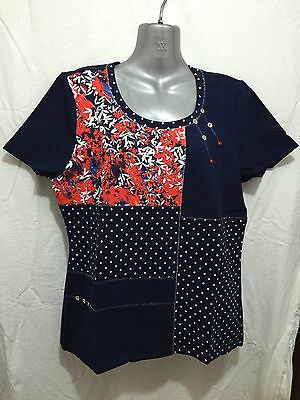 BNWT Ladies Sz S/16 Myer BIB Label Navy Contrast Christmas Gift Top RRP $50