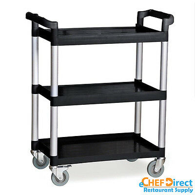 Commercial Polyurethane 3-Tier Black Restaurant Bus Cart - Black