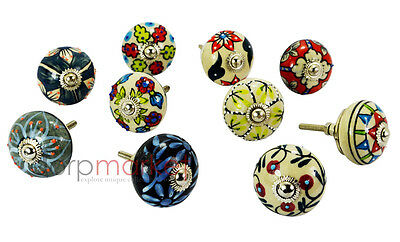 10 Pcs Dotted Mix Color Design Ceramic Cupboard Cabinet Door Knobs Drawer Pulls
