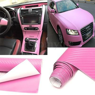 2Mx500mm DIY 3D Carbon Fiber Vinyl Wrap Roll Film Sticker Decal Car Auto Pink