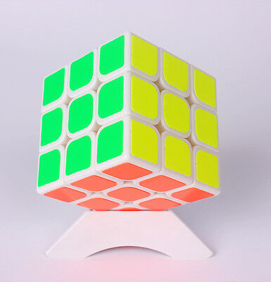 3x3x3 Magic Cube Speed Puzzle Twist White Base Kids Game Educational Toy Gift