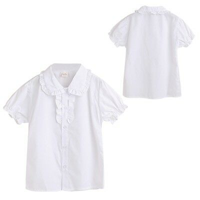Infant Baby Kids Girl Summer Shirt Frilled Collar Short Sleeve Casual Blouse O95