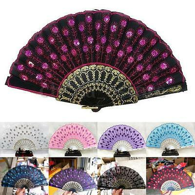 Silk Folding Lace Hand Held Dance Spanish Style Fan Sequins Flower Wedding Part