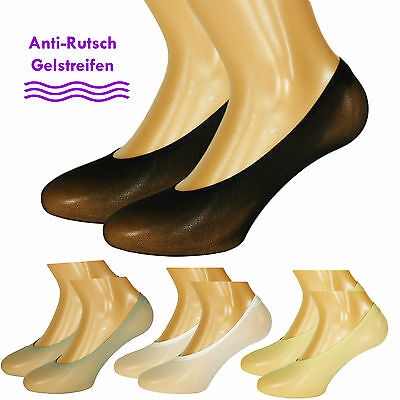 Füßlinge 30den für Damen Füssli Footies 12er Pack Foot Cover Socks Anti-Slip Gel