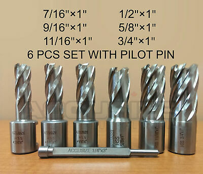 """6 Ps 7/16"""" to 3/4"""" HSS Annular Cutters 1"""" Cutting Depth with 1 Pc Pilot Pin, #D1"""