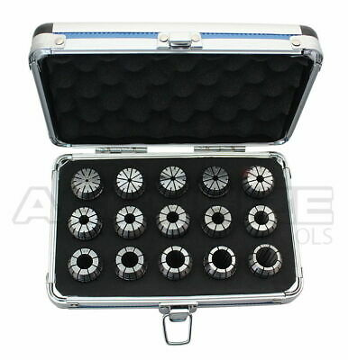 2mm to 16mm by 1mm ER-25 Collet 15 Pcs/Set in Fitted Strong Alu Box, #3350-0584