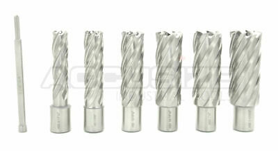 """7 Pcs 9/16"""" to 1-1/16"""" HSS Annular Cutters, 2"""" Cutting Depth with Pilot Pin, #Q1"""
