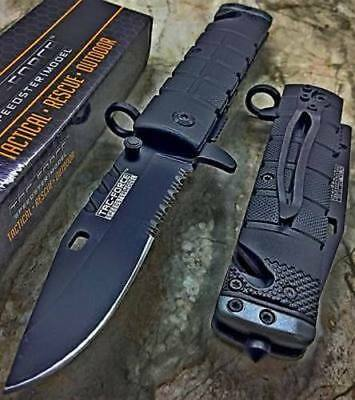 Tac Force Spring Assisted Open Black SAWBACK BOWIE Tactical Rescue Pocket Knife