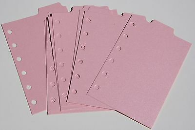 9 Shimmery light Pink  Filofax POCKET size  dividers monthly subject top tab