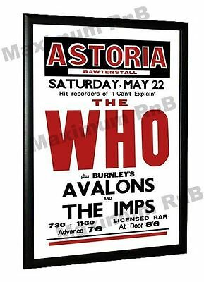The Who The Avalons Concert Poster Rawtenstall Astoria, 1965