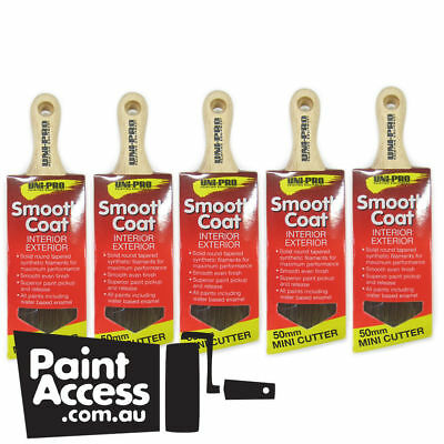Pack of 5 Uni-Pro Paint Brushes, Synthetic Sash Mini Cutter, 50mm