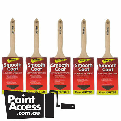 Paint brushes/Pack of 5 Uni-Pro Smooth Coat Synthetic Sash Cutters, 75mm