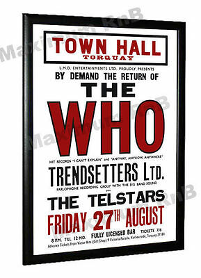 The Who Trendsetters Ltd Telstars Concert Poster Torquay Town Hall 1965