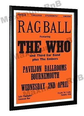 The Who Concert Poster Rag Ball Pavilion Bournemouth 1969