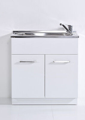 Laundry Tub Cabinet 45 Litres PVC Gloss White laundry Trough Sink