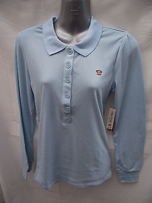 ~BNWT Ladies Sz 14 Paul Frank Lovely Pale Blue Long Sleeve Polo Tee Shirt Top~