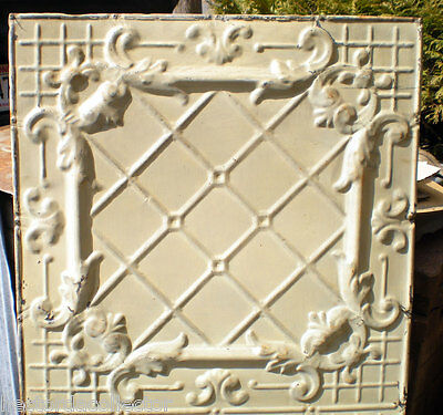 WoW Antique Victorian Ceiling Tin Tile Basketweave Tic Tac Toe Frame Chic Fleur