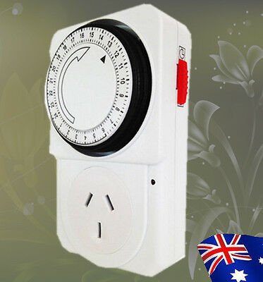 Hydroponics 10A Heavy Duty Timer For Grow Light 24 Hours Timer 3 Pin Plug