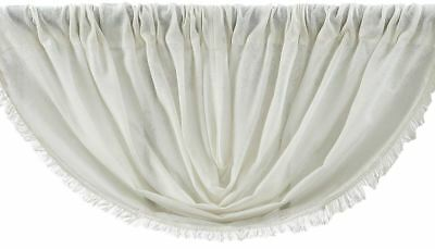 "Tobacco Cloth Antique White Cotton Countrytyle Rustic Balloon Valance 60"" W"