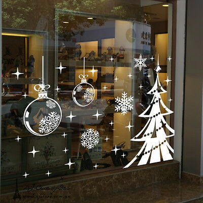Large Christmas Tree Wall stickers Decal Removable Mural Deco Window Vinyl Balls