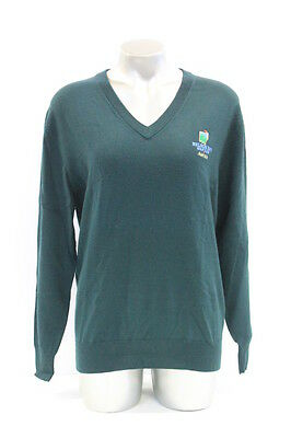 New Womens Sporte Leisure 100% Wool V-Neck Golf Jumper In Green, Size S