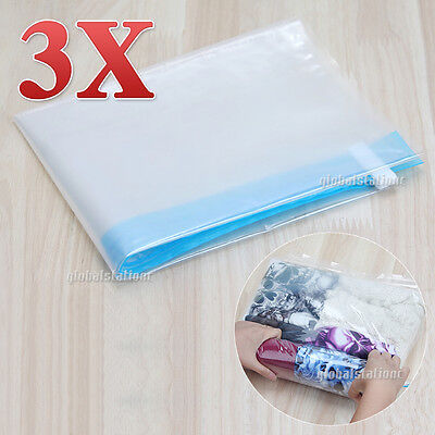3pcs Roll-up Compression Storage Bag Space Saver Travel Luggage No Vacuum Needed