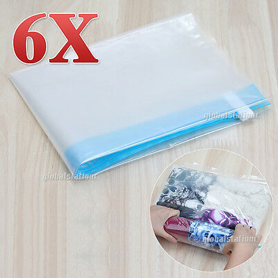 6pcs Roll-up No Vacuum Compression Storage Bags Home Camping Travel Luggage Pack