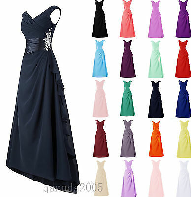 Long Chiffon Bridesmaid Formal Party Evening Cocktail Prom Gown Dress Size 6-30