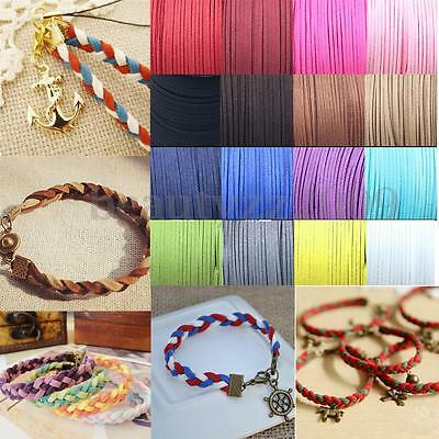 1M Necklace Leather Cord Soft Suede Thong Lace Rope Thread String For Craft