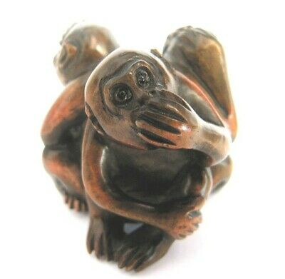 "Y221 --- 2"" Hand Carved Boxwood Netsuke Carving - 3 No Evil Wise Monkeys"
