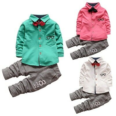 Baby Boys Outfits Long Sleeve T-shirt+Striped Pants Kids Casual Clothes 2Pcs/Set