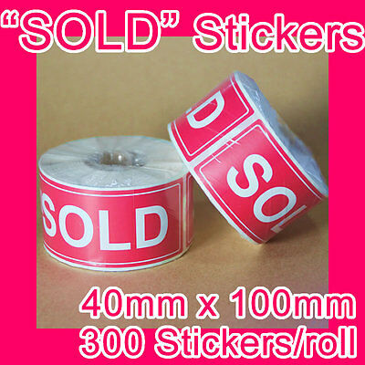 "300 ""SOLD"" sticker/label 40mm x 100mm GST INCLUDED (1 roll)"