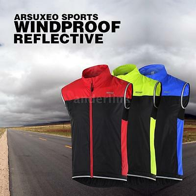 ARSUXEO Men's Sleeveless Coat Jacket Running Cycling Bicycle Vest Windproof Y6W6