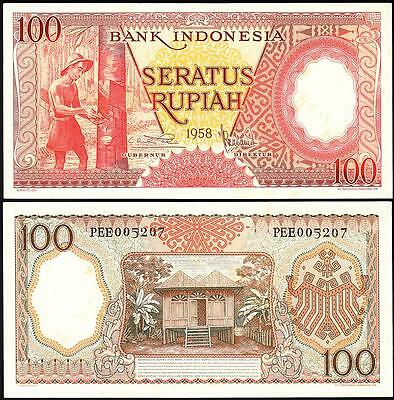 INDONESIA 100 RUPIAH 1958 UNC BUT aUNC P.59 WITH LITTLE STAIN