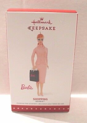 Hallmark 2015 Shopping Barbie Pink Dress Christmas Tree Ornament NEW
