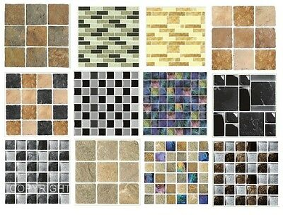 Mosaic tile stickers transfers travertine stone KITCHEN BATHROOM peel and stick