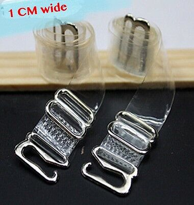 *US seller* 2 Pairs Clear Transparent Invisible Adjustable Shoulder Bra Straps