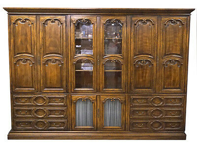 Quality HIBRITEN Bernhardt Cognac 8pc Bookcase Curio China Bar Armoire Wall Unit