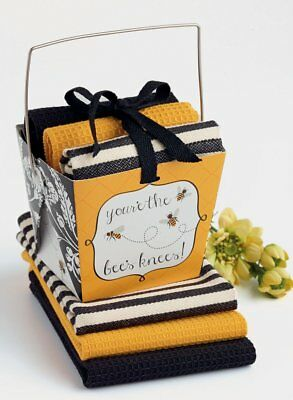 YOUR'E THE BEE'S KNEES! Cotton Dishcloth Set of 3 in Gift Box