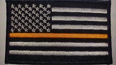 """Thin Orange Line USA Flag Patch Velcro Patch 3.5"""" X 2"""" EMS subdued flag tactical"""