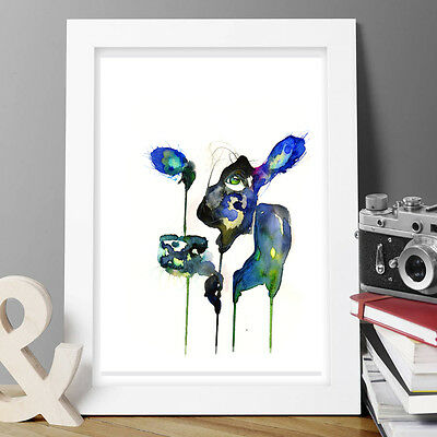 Watercolor Cow Painting Original Print By Artist New Signed