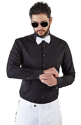 Men's Black Tuxedo Dress Shirt Slim Tailored Fit French Cuff Spread Collar AZAR