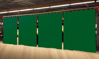 Lot of (4) Economy Hunter Green Curtain Panel/Partition 10 H x 4½ W, Non-FR