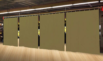 Lot of (4) Economy Tan Curtain Panel/Partition 15 H x 4½ W, Non-FR