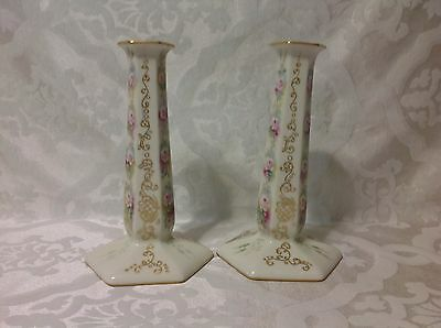 1900-1930 Beautiful Pair American Lenox Belleek Candlesticks; Excellent Cond