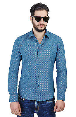 New Mens Cotton Slim Fit Teal Green Circle Design Vintage Modern 6559