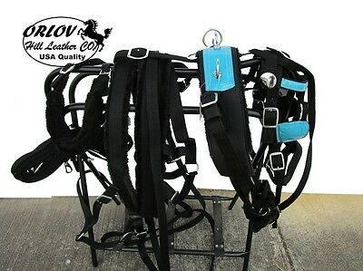 Teal Blue Turquoise Drawn Driving Show Parade Pony Horse Cart Nylon Harness Set
