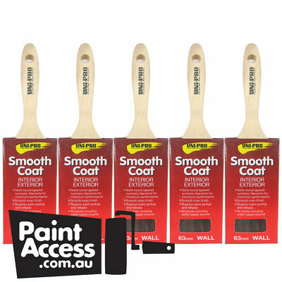 Paint Brushes/ Pack of 5 Uni-Pro Smooth Coat Wall Brushes 63mm