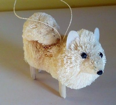 Wonderful Natural Brush Art Spitz Dog Christmas Ornament - New