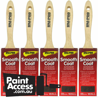 Paint Brushes/Pack of 5 Uni-Pro Smooth Coat Wall Brushes, 38 mm